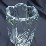Orrefors Clear Glass Vase, Flared, Scalloped Rim, Heavy Body