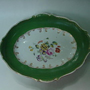19th C. Porcelain Oval Tray w Wide Green Borders, Floral Bouquet Center