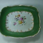 19th C. Porcelain Rectangular Tray, Wide Green Border, Floral Center