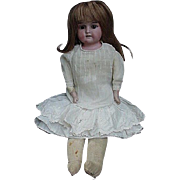 REDUCED 19th C.Bisque Head Doll, Kid Body, Bisque Arms, Cloth Legs Below Knee