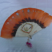 Child's Small Fan, Fabulous Feather Colors, Hand-Painted, Made in China