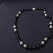 Polished Black Onyx Beads w Gold Metal Spacer Beads, Vintage