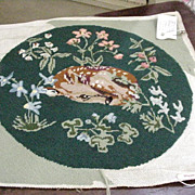SALE Needlepoint Pillow, Fawn Resting Among Flowers