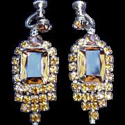 Topaz Colored Rhinestone Earrings w Screw Backs, Prong-Mounted Stones