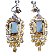 REDUCED Topaz Colored Rhinestone Earrings w Screw Backs, Prong-Mounted Stones