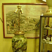Exquisite Hand-Painted Lamp, Signed, Vintage Theme, 1930s