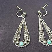 SALE Mexico Sterling Earrings, Screw Backs, Dangling Paisley Teardrop Design w Turquoise Stone