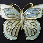 REDUCED J J Enamel on Gold Tone Metal Butterfly Pin