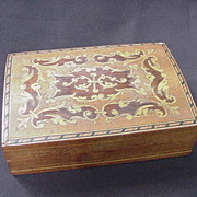 SALE Inlaid Wood Veneer Box, String Inlay, Dolphin Motif, Birds, Floral Flourishes