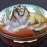 SALE Halcyon Days Enamel Box, Lion on Lid, England