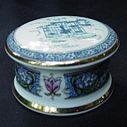 Tudor Falcon China Trinket Box, England, The Town Pump, Thornbury