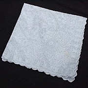 SALE Vintage Embroidered Wedding Handkerchief, Flowers and Hearts