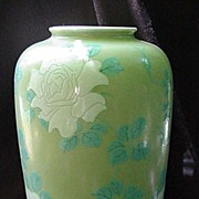 REDUCED Magnificent Ovoid Celadon Japanese Vase w White Flowers, Turquoise Leaves