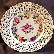 SALE Eight Schierholz Porcelain Dessert Plates, Lattice Borders,  Floral Center, Germany