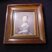 SALE Vintage Print  A Girl with a Kitten , 1745 Portrait by Perroneau