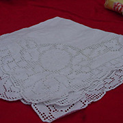 Four Vintage Drawn Work Luncheon Napkins with Embroidered Accents