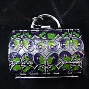 Judith Leiber Pill Box, Silvertone  Metal with Butterflies