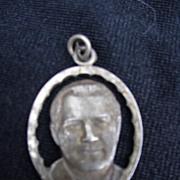 Religious Medal, St. Pius X Pray For Us, Silvertone Medal