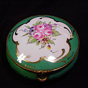 SALE Vintage Limoges Round Box, Roses in Five-Lobed Reserve