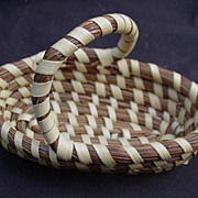 Miniature Hand-Woven Sweet Grass Basket, Low Country, South Carolina