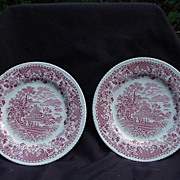"Pr. of Enoch and Ralph Woods ""Seaforth"" Pattern, Red Transfer Plates, Burslem, Engla"