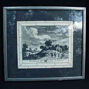 Teniers Village Scene from 17th C. European Painting, Engraving on Celluloid