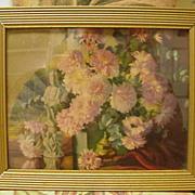 Vintage Print of Still Life Arrangement, Japanese Statue, Fan and Floral Arrangement of Chrysa