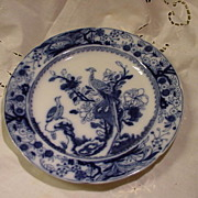 SALE Mason's Patent Ironstone China Plate w Asiatic Pheasants in Tree, Flow Blue
