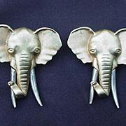 Vintage Pair of Elephant Head Earrings for Pierced Ears, Marked J J