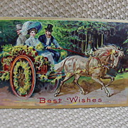 Embossed Christmas Postcard w Edwardian Gent & Lady in Horse Drawn Carriage
