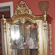 Elaborate French-Style Display Cabinet, Gold Leaf Finish