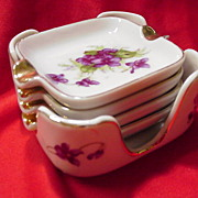 Lefton China Cigarette Tray w Four Individual Ashtray, Spring Violets