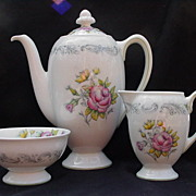 SALE Royal Doulton English  Bone China Coffee Pot, Cream & Sugar