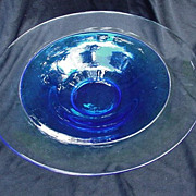 Orrefors Glass Blue Bowl with Clear Rim