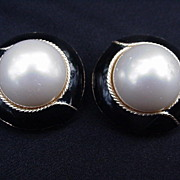Ciner Clip Earrings, Simulated Pearl Surrounded by Black Enamel Border