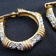 Gold Tone Hoop Clips Studded with Clear Rhinestones