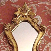 SALE Vintage Giltwood Florentine Mirror, Elaborate Shield-Shaped Body
