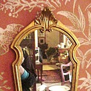 SALE Vintage Giltwood, Florentine Mirror, Shield Shaped
