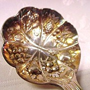Vintage Sheffield, England  Preserve Spoon, Gold-plated Bowl, Repousse Fruit