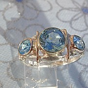 Sterling Silver/9kt Rose Gold Triple Blue Topaz, Unique Combination Cuts Artisan Ladies Ring