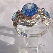 Sterling Silver/9kt Rose Gold Triple Vibrant Blue Topaz Artisan Ladies Ring