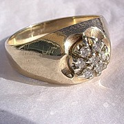 10kt Yellow Gold Vintage Gentlemens Classic Diamond Cluster Ring