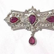 14kt White Gold Multi Pear Shape Ruby/Diamonds Vintage Brooch