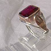 Sterling Silver/9kt Pink Gold Emerald Cut Synthetic Ruby Artisan Ladies Ring