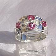 Sterling Silver Artisan Multi Pink Tourmaline & Seed Pearl Ladies Ring/Band