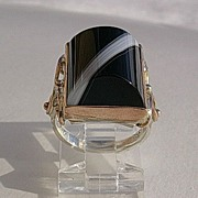 SOLD Sterling Silver/9kt Pink Gold Extraordinary Black/White Dome Agate Artisan Ladies Ring