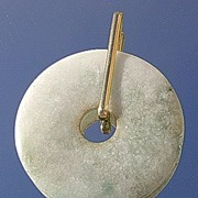 18kt Large Round Jade Pendant