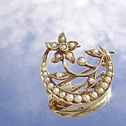14kt Victorian Multi Seed Pearl Crescent Moon/Flower Brooch