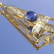 14kt Vintage Sapphire/Multi Diamond Pendant with Chain