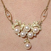 14kt Vintage Culture Pearl & Diamond Lavaliere/Necklace